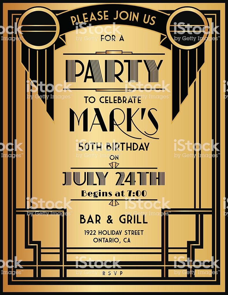 art deco party invitation template in black and gold gm