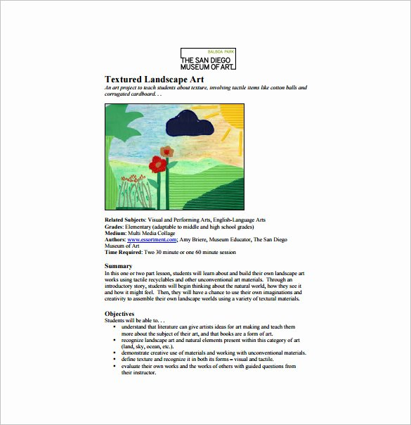 Art Lesson Plan Template 10 Free Word Pdf Documents
