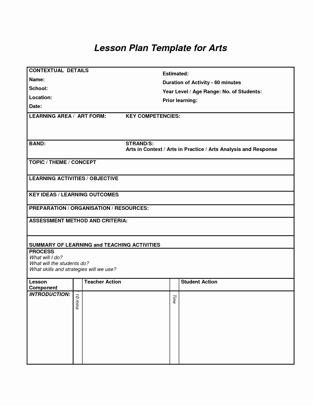 Art Lesson Plan Template Beepmunk