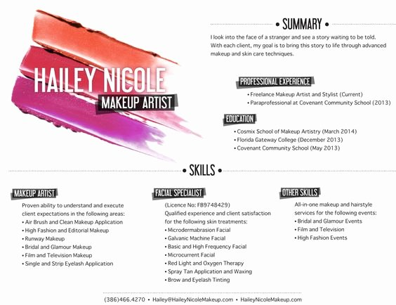 Artist Resume Makeup Artists and Resume On Pinterest