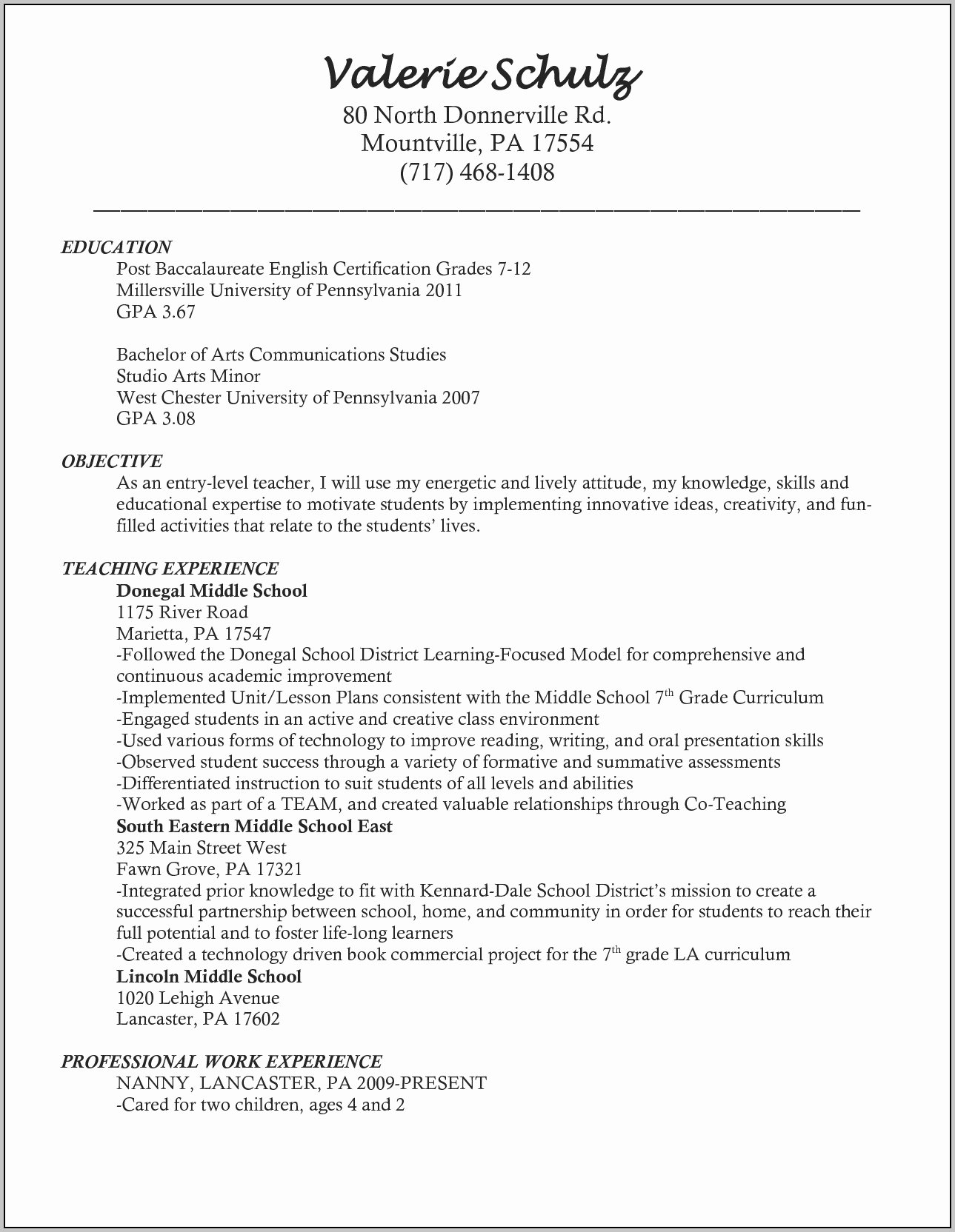 Artist Resume Sample Mock Resume Example Teachers