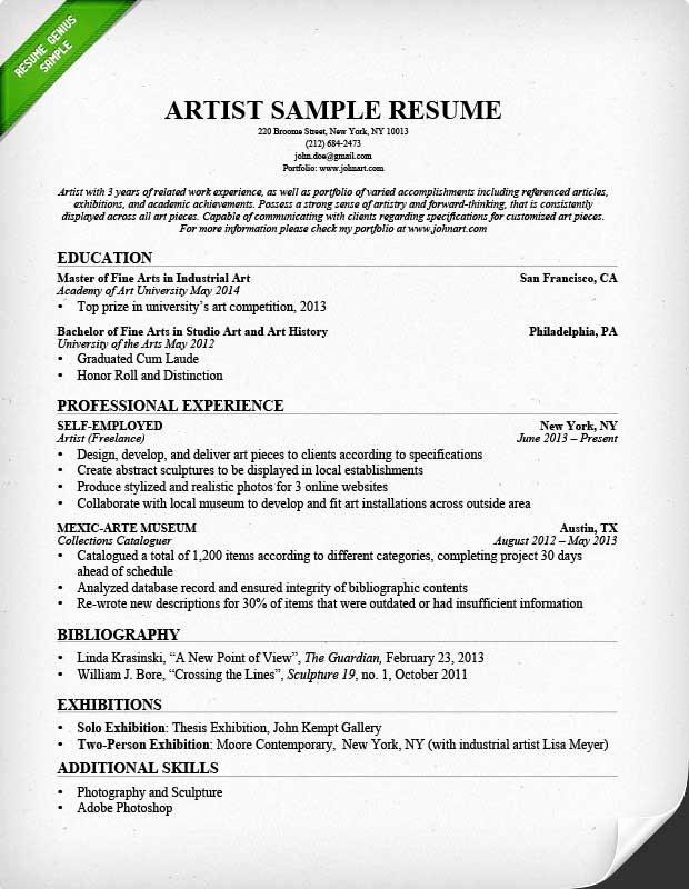 Artist Resume Template Free