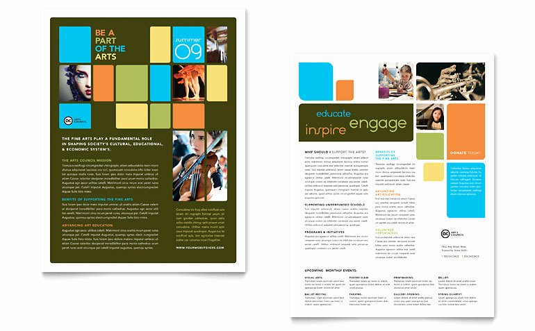 Arts Council & Education Datasheet Template Word & Publisher