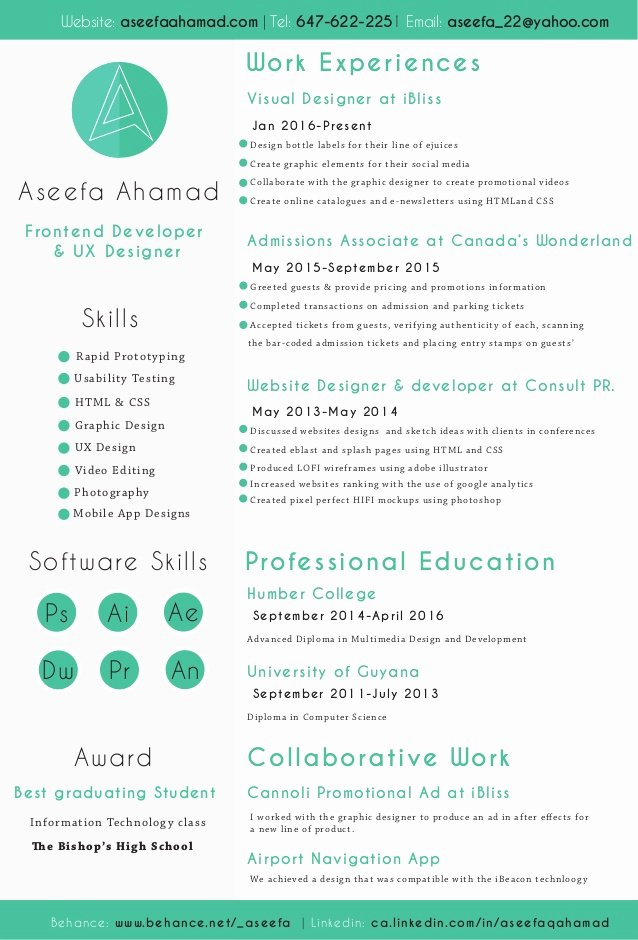 Aseefa Front End Developer and Ux Designer Resume