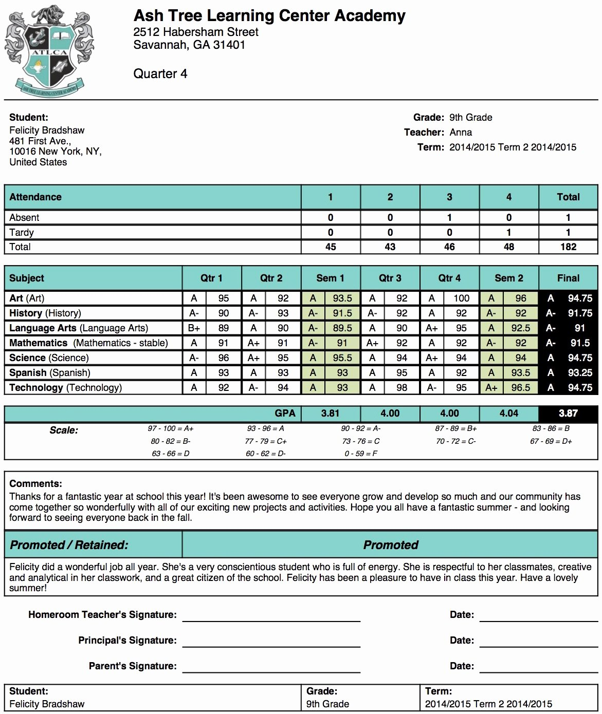 Ash Tree Learning Center Academy Report Card Template