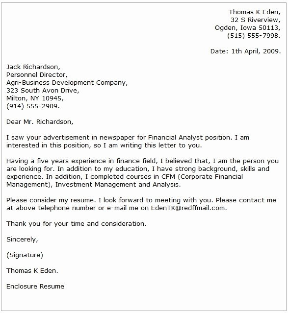 Asset Management Cover Letter