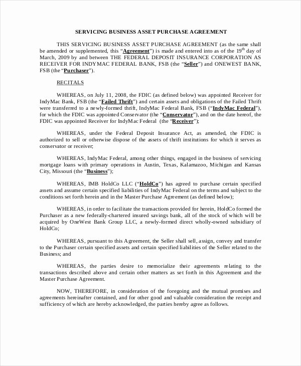 Asset Purchase Agreement 7 Free Word Pdf Documents