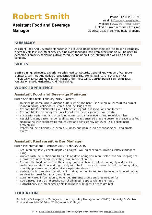 Assistant Food and Beverage Manager Resume Samples