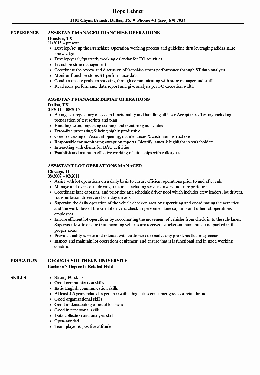Assistant Manager Manager Operations Resume Samples
