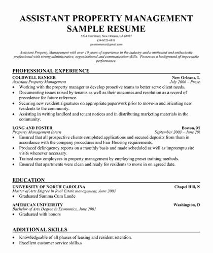 Assistant Property Management Resume Objective