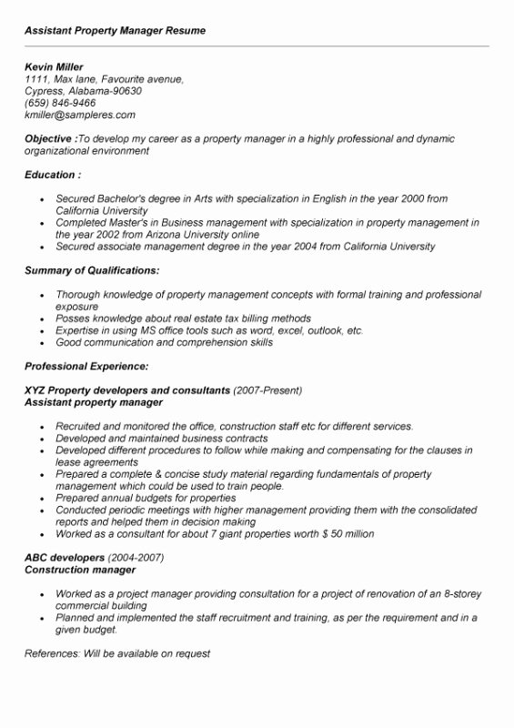 Assistant Property Manager Resume Sample