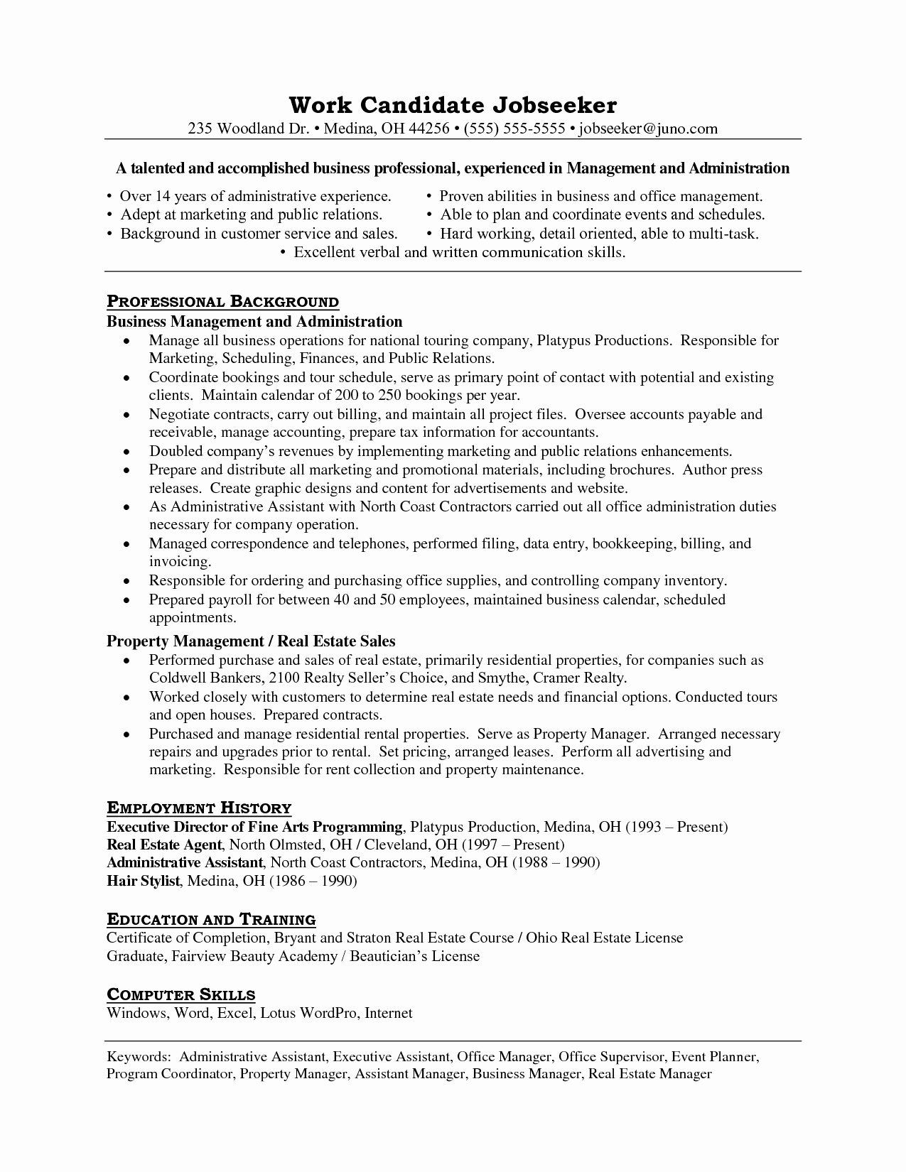 Assistant Property Manager Resume Template