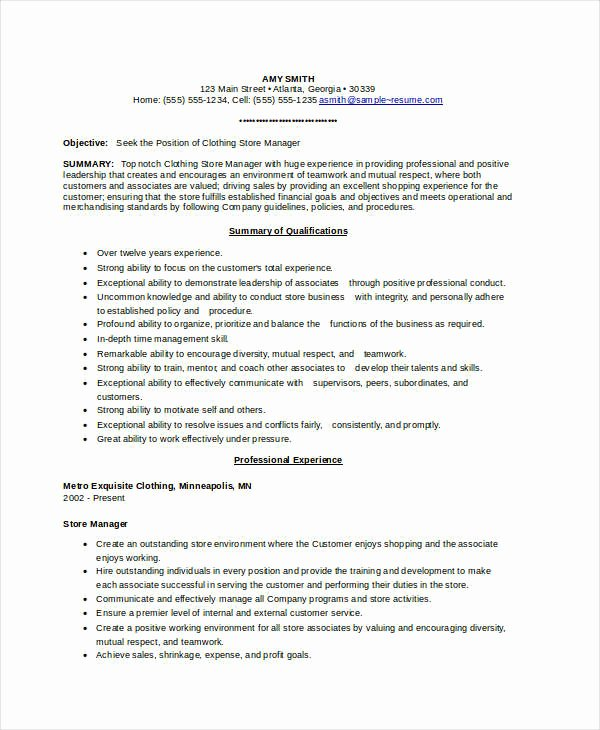 Assistant Store Manager Resume Examples