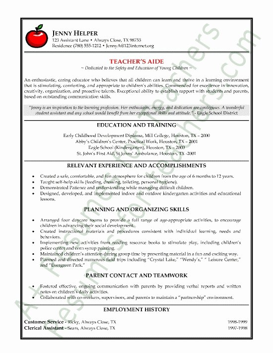 Assistant Teacher Resume Examples Best Resume Collection