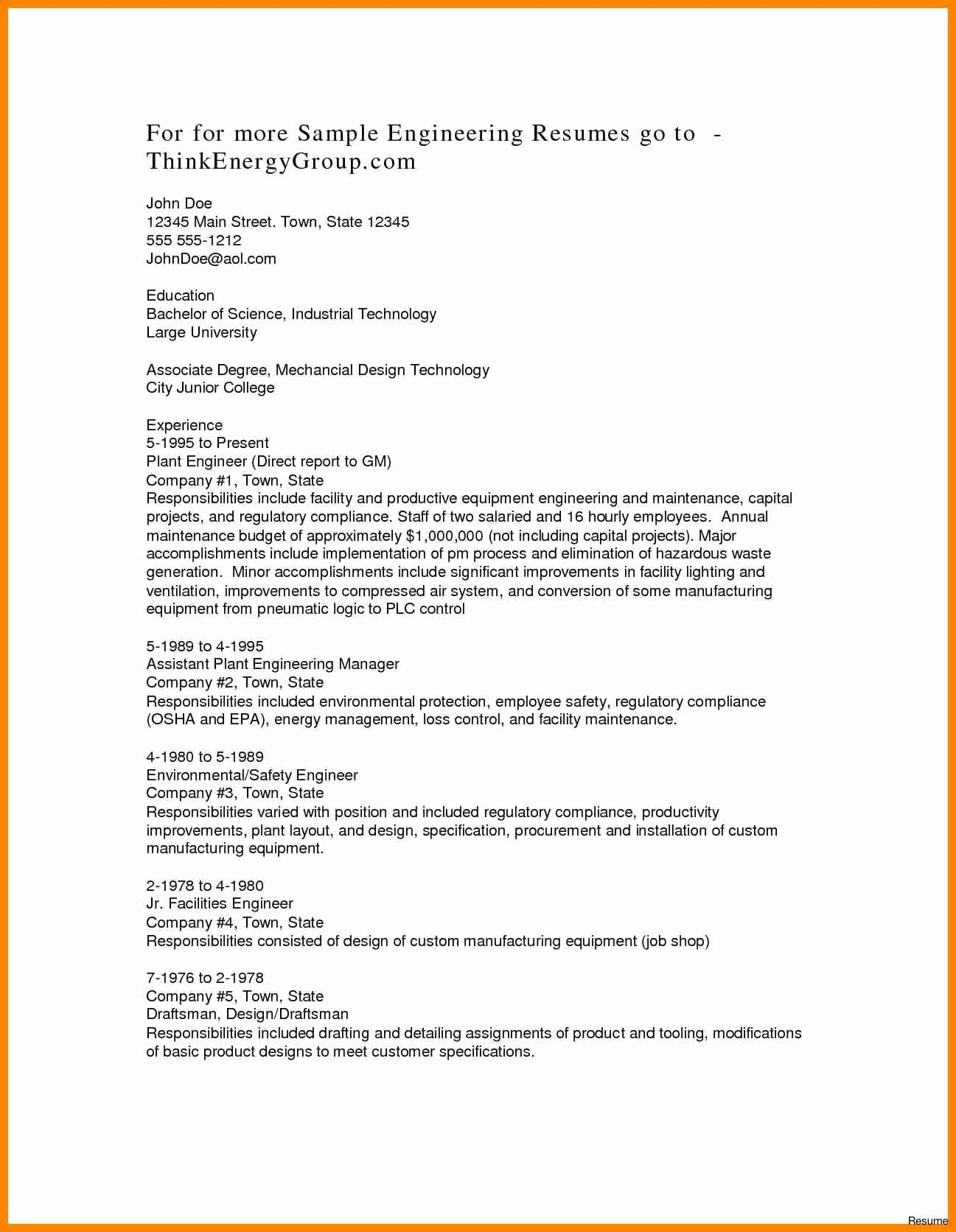 Associates Degree Resume Sample Filename