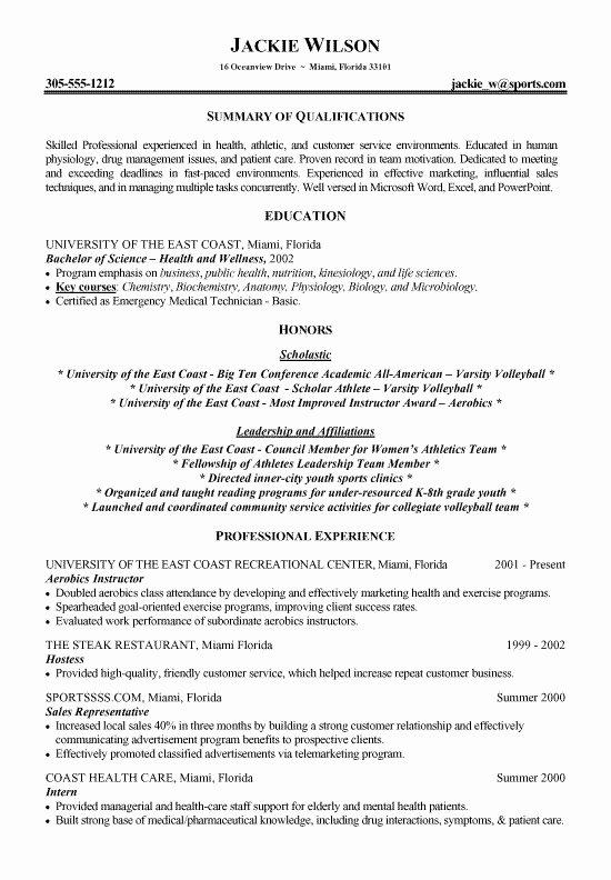 Athletic Resume Sample Best Resume Gallery