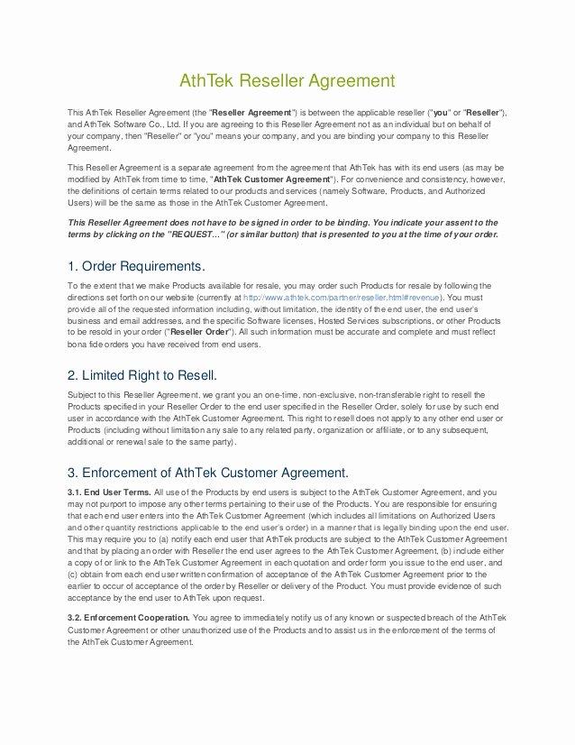 Athtek Reseller Agreement Template