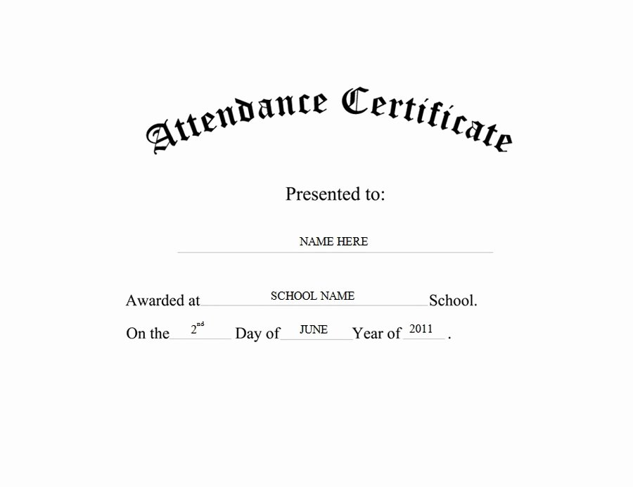 Attendance Certificate Free Word Templates & Clipart