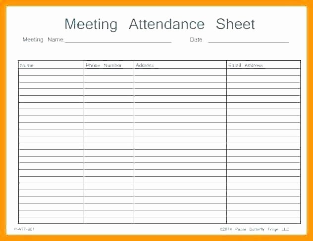 Attendance Template Excel Printable Sheet Work Meeting