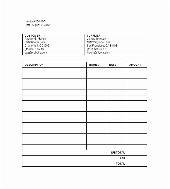 Attorney Billable Hours Invoice Template Billable Hours