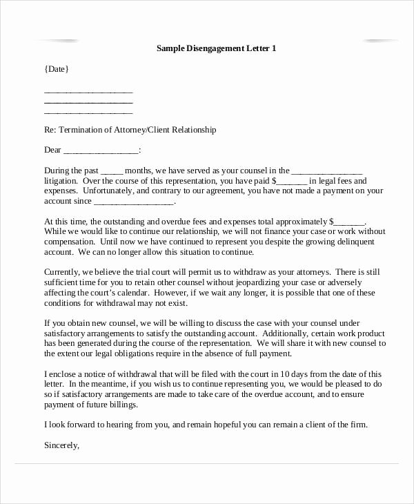 Attorney Disengagement Letter Letter Of Re Mendation