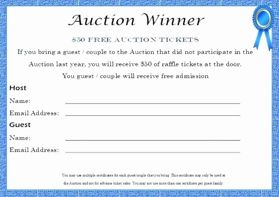 Auction Donation Certificate Template Silent Gift Best