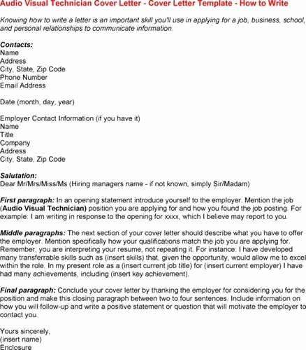 Audio Visual Technician Resume Example