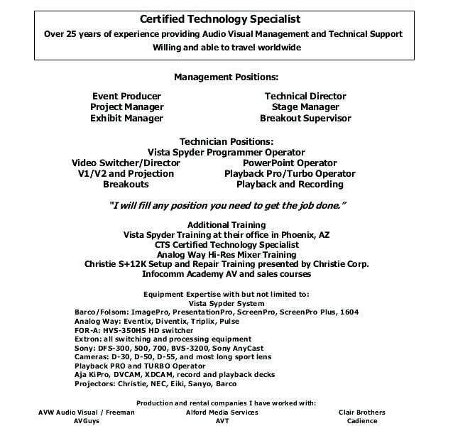 Audio Visual Technician Resume Sample