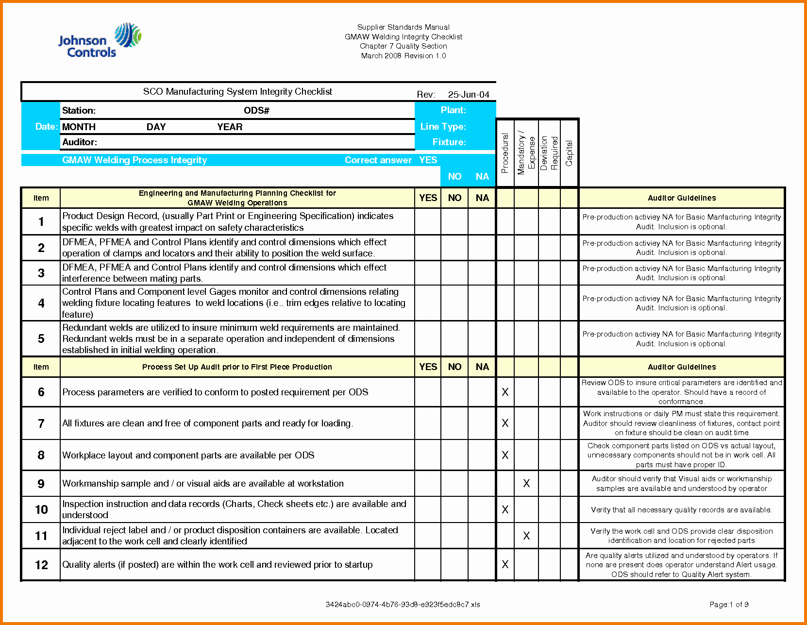Audit Checklist Template Excel to Pin On