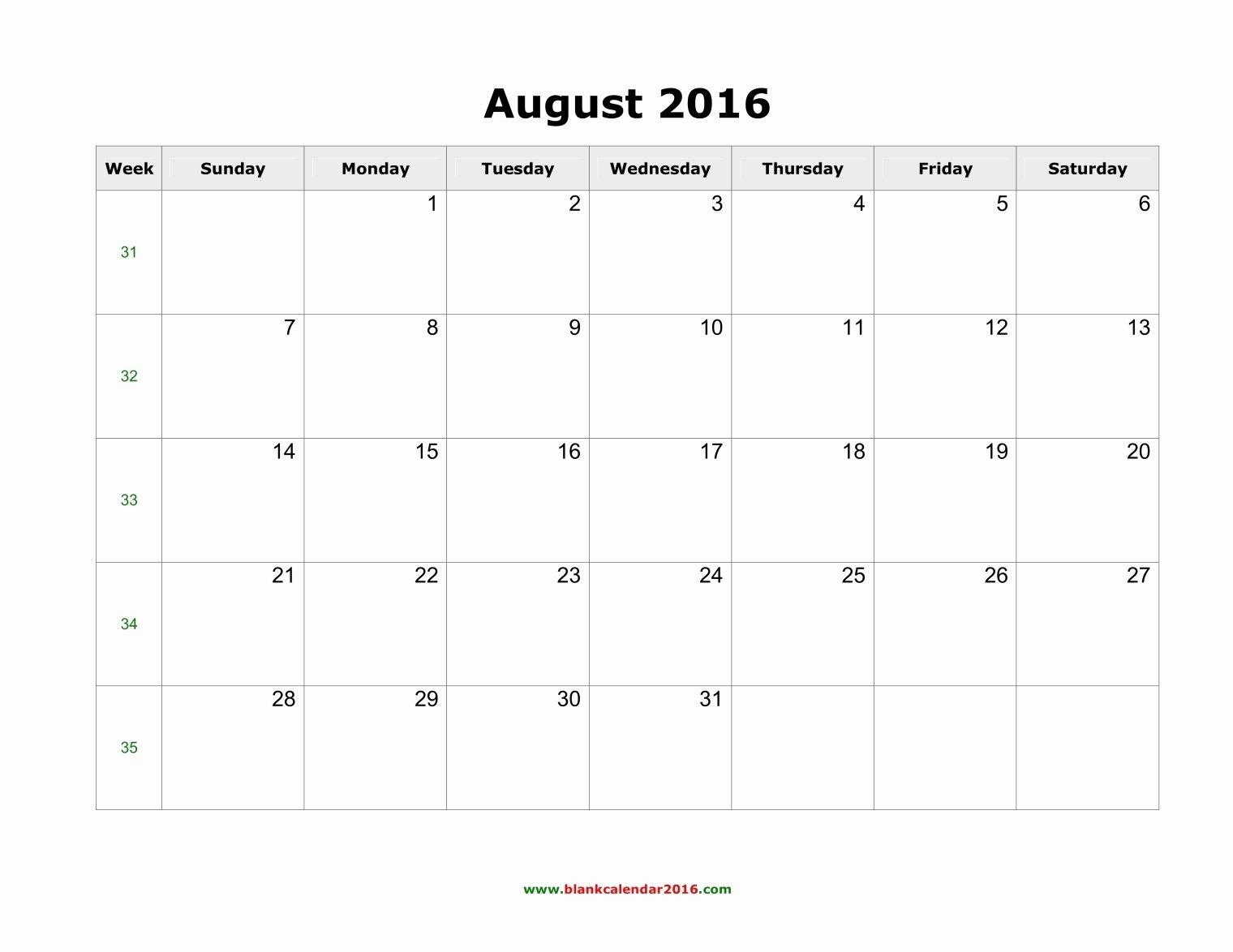August 2016 Calendar Word – 2017 Printable Calendar