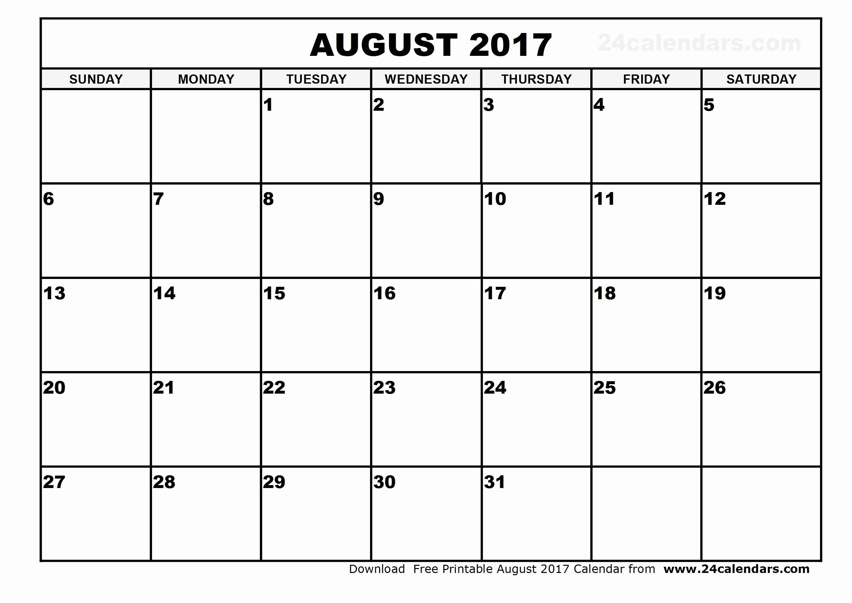 August 2017 Calendar Excel