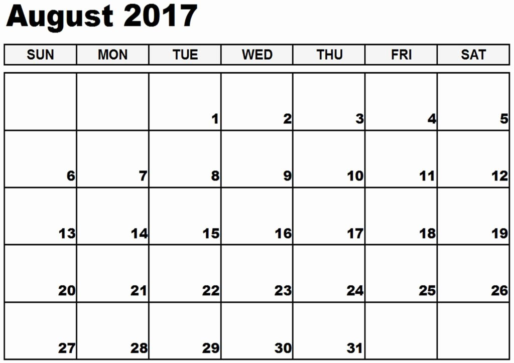 August 2017 Printable Calendar Template Holidays Excel
