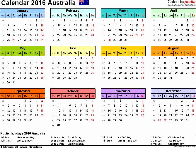 Australia Calendar 2016 Free Printable Excel Templates
