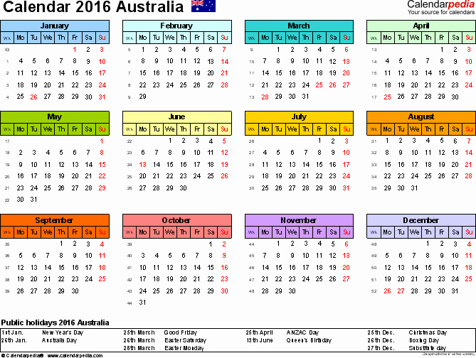 Australia Calendar 2016 Free Word Calendar Templates