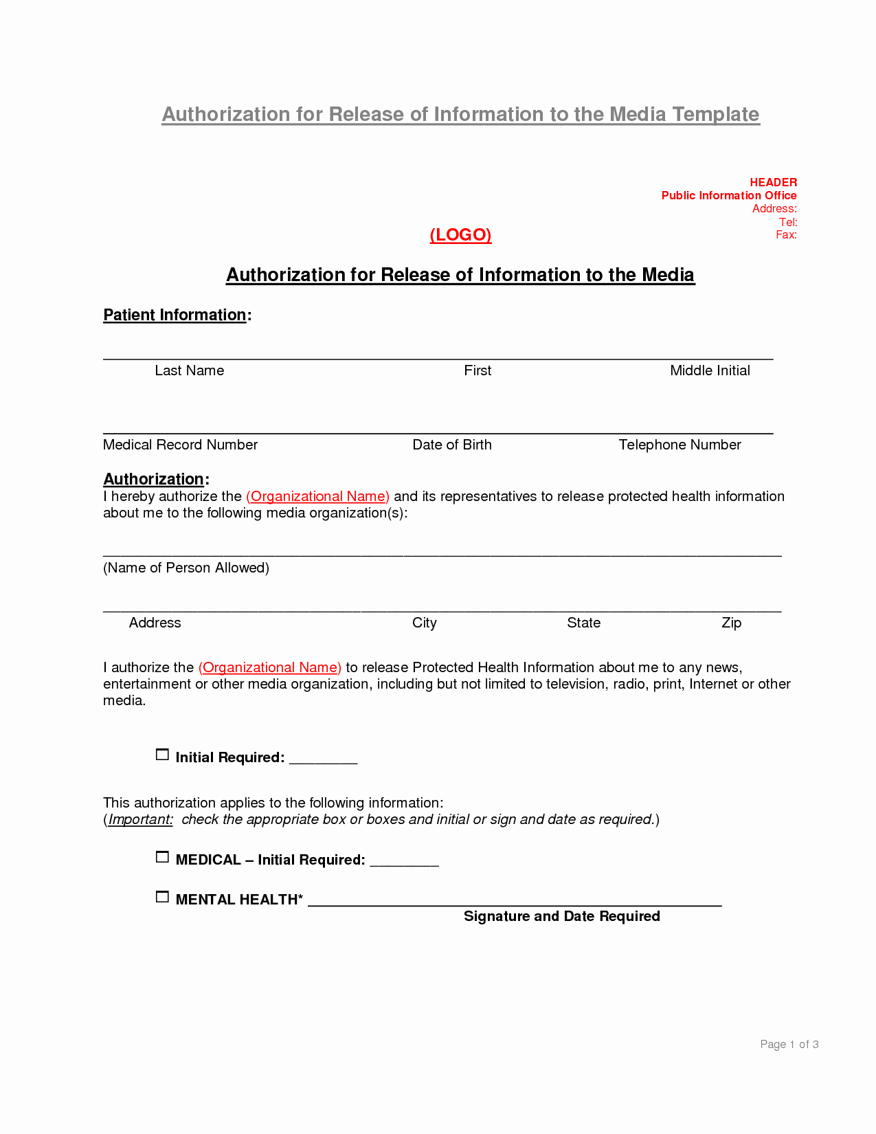 Authorization to Release Information Template