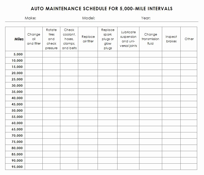 Auto Maintenance Schedule Template Sample