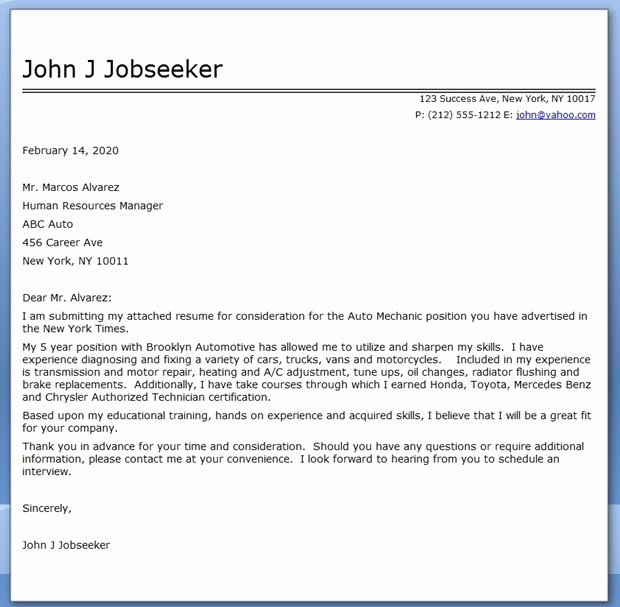 Auto Mechanic Cover Letter Template