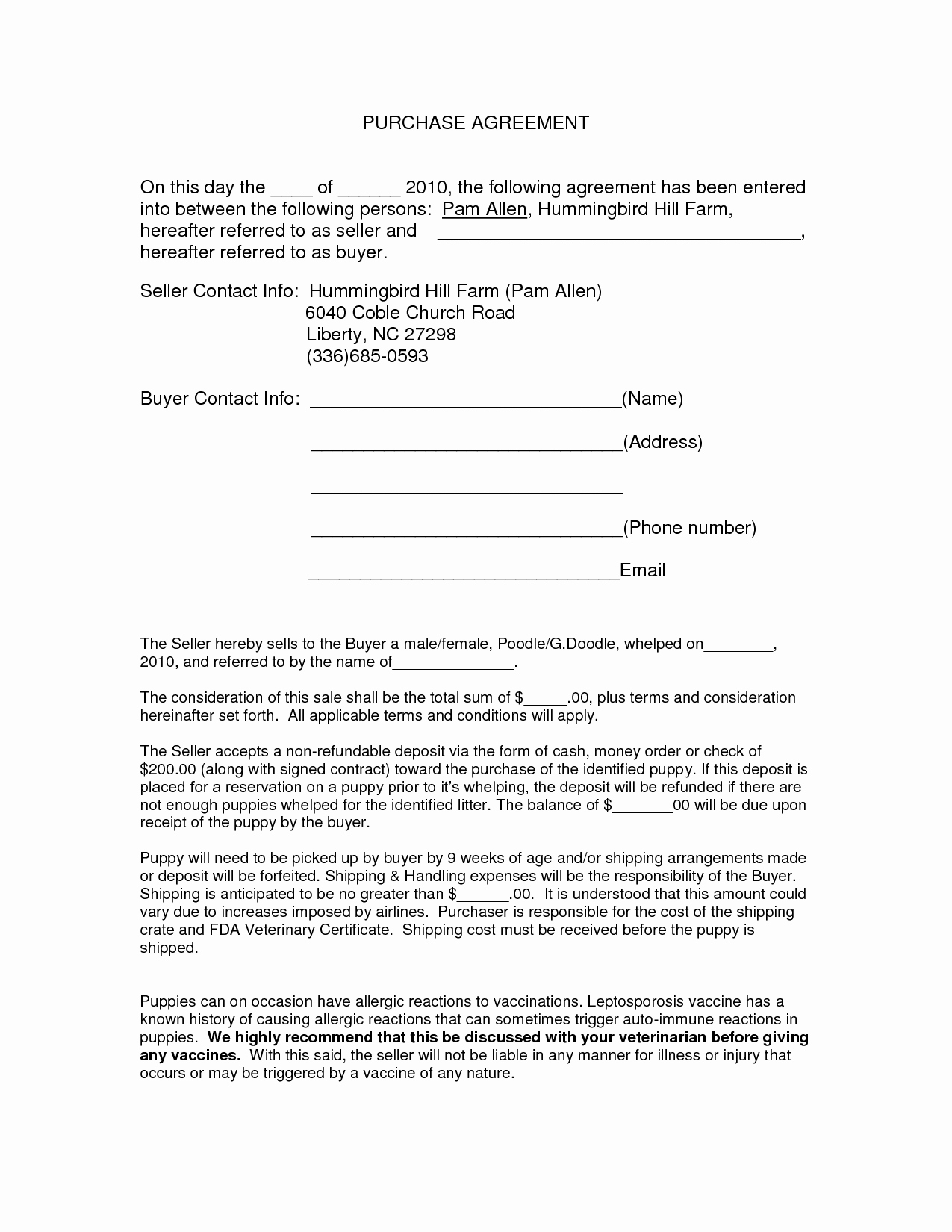 Auto Purchase Agreement form Doc by Nyy Purchase