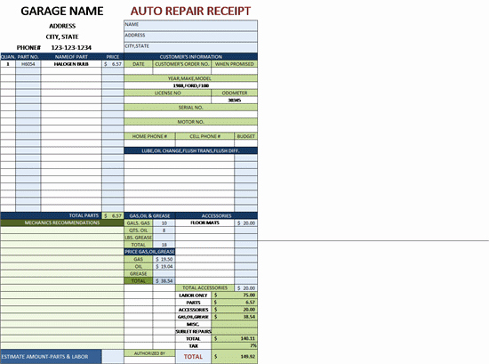 Auto Repair Invoice for A Garage with Tax