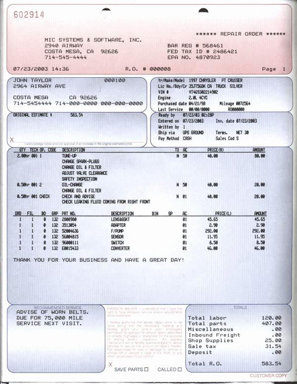 Auto Repair Invoice form