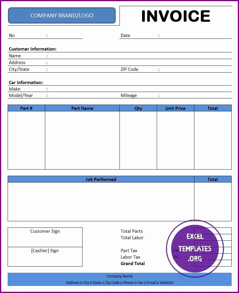 Auto Repair Invoice Template Excel Templates