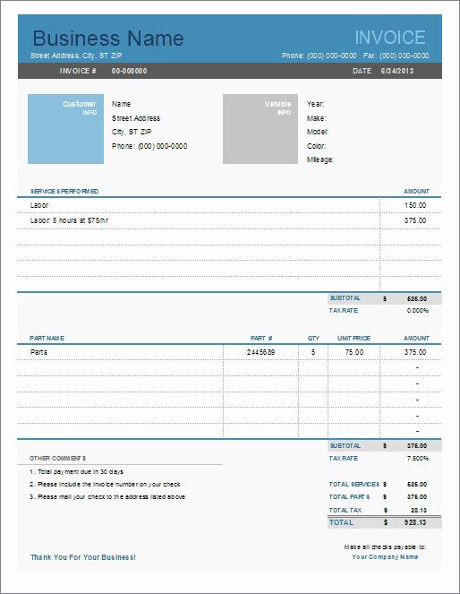 Auto Repair Invoice Template for Excel