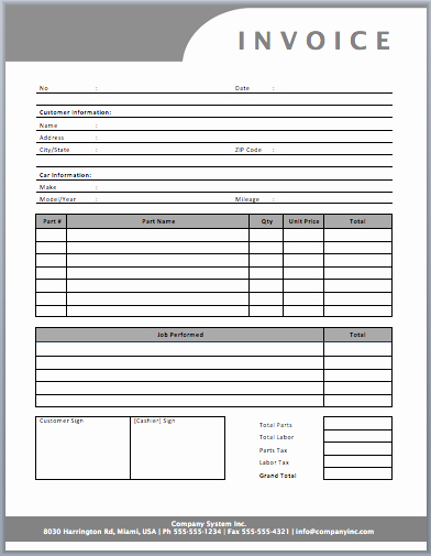 Auto Repair Invoice Template Templates