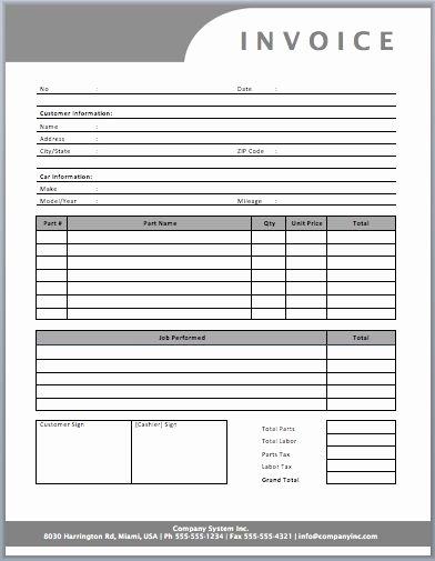 Auto Repair Invoice Template Templates