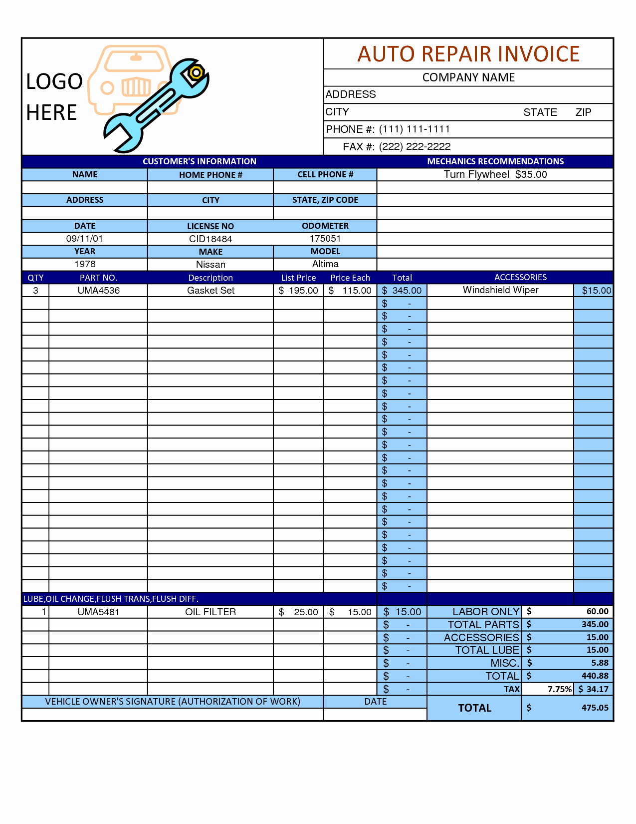 Auto Repair Invoice Template Word
