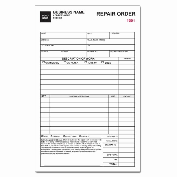 Auto Repair Invoice Work orders Custom Carbonless