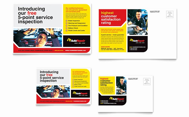 Auto Repair Postcard Template Word & Publisher