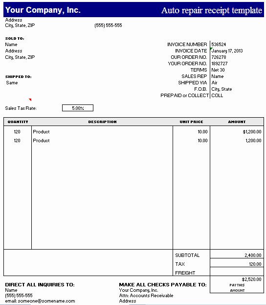 Auto Repair Receipt Template – Excel