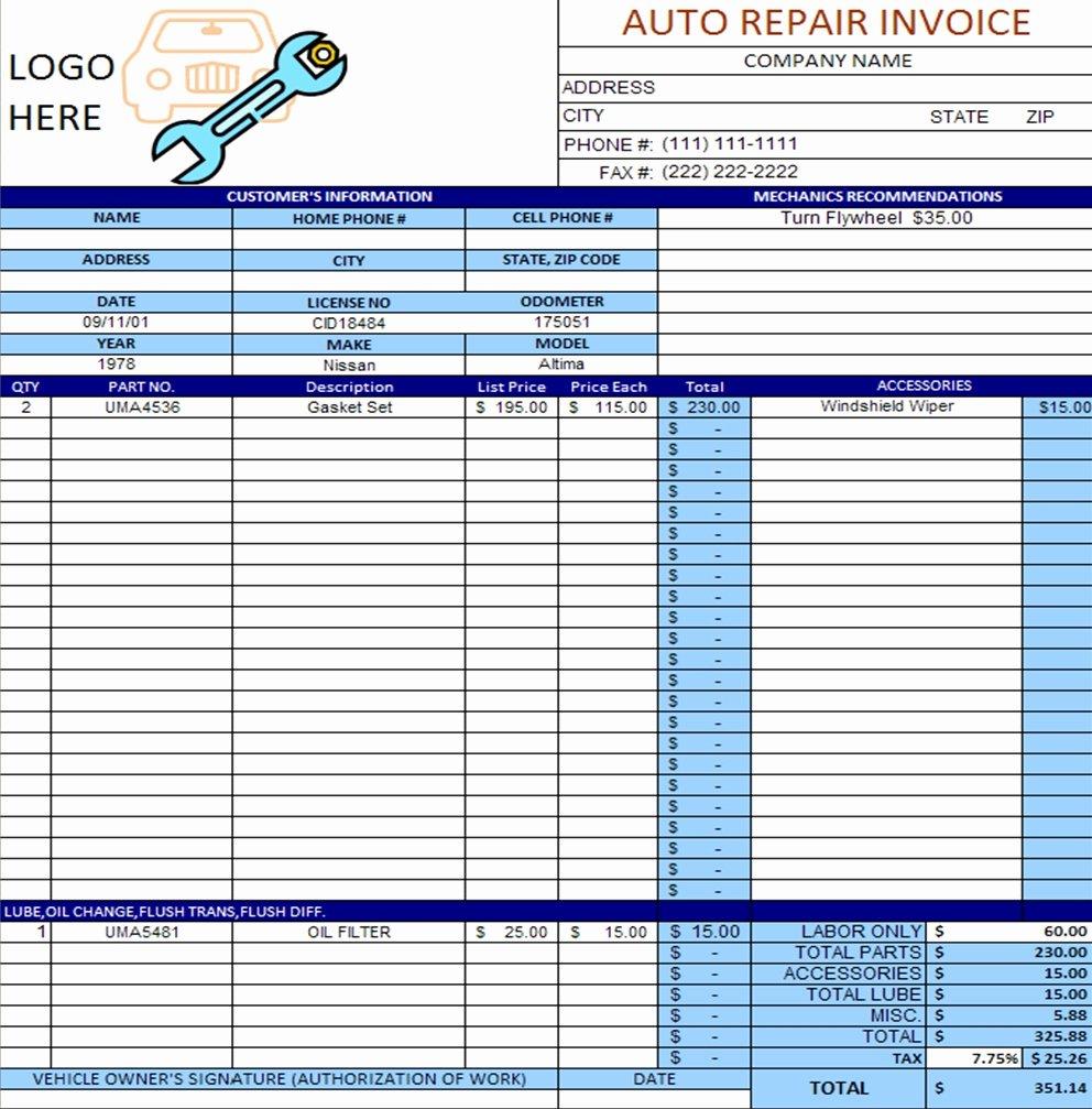 Auto Repair Shop Invoice Invoice Template Ideas