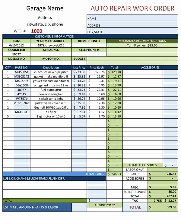 Auto Repair Work order Template Free Download